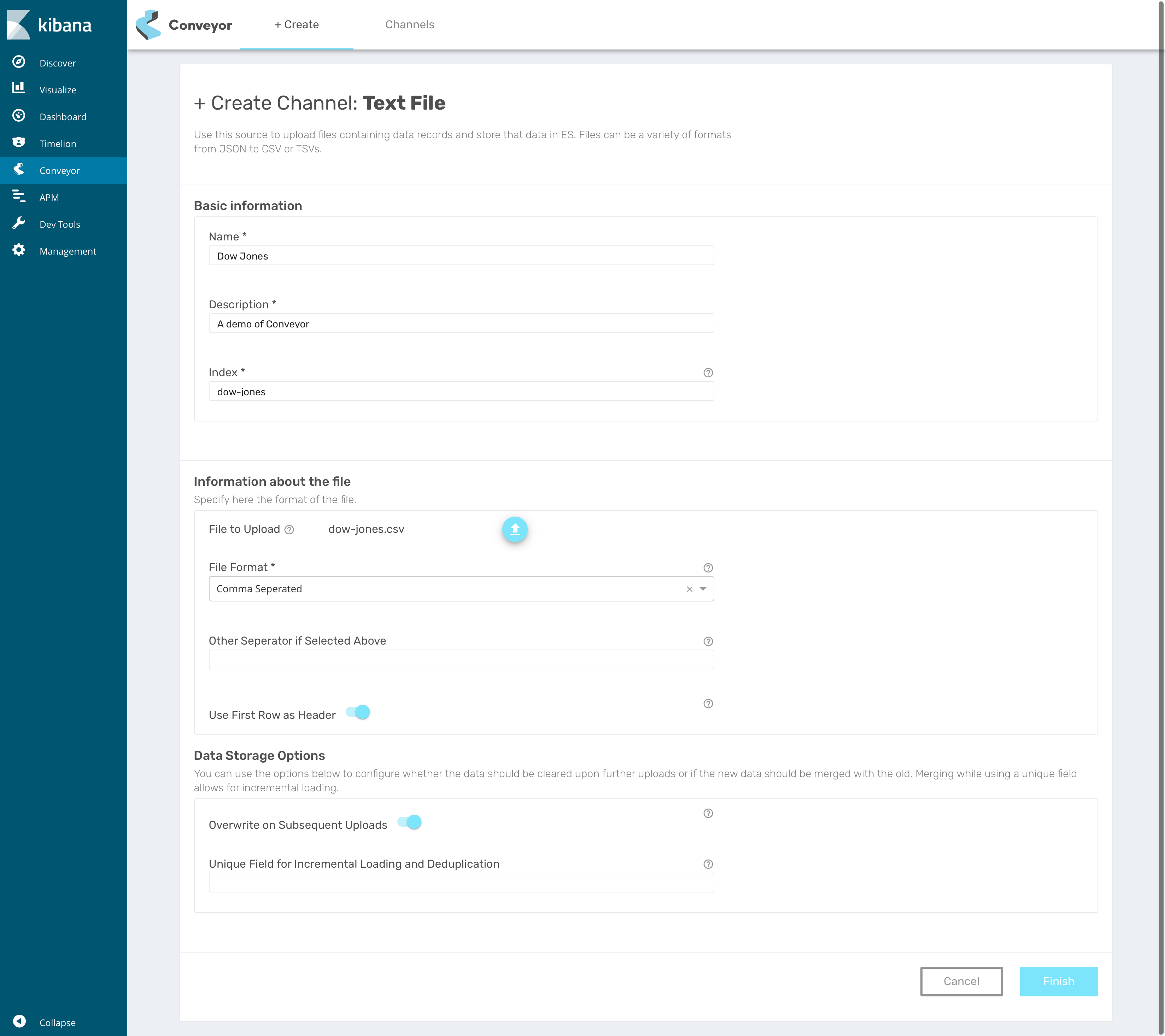 Create a CSV based channel